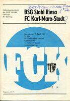 Programmheft, Juniorenoberliga, BSG Stahl Riesa - FC Karl-Marx-Stadt 1984 /89