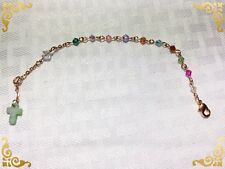 Handcrafted Girls Rose Gold Rosary Bracelet MADE WITH Genuine Swarovski Crystals