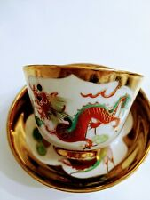 Antique Chinese Cup And Saucer Gold Dragons And Phoenix