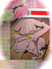 Vintage Crochet Pattern Baby's Poncho, Coat Bonnet & Knitted Pull-ups ONLY £1.99