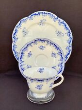Scarce Shelley FOOTED DAINTY With Blue HEAVENLY BLUE Tea Cup Saucer Plate TRIO