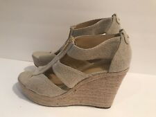 Michael Kors Berkley Wedge Espadrille Women's Sandals Fabric Natural Size 10 M