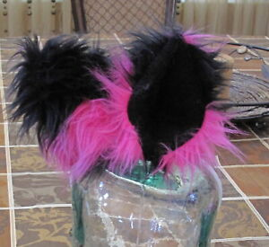 Cheshire cat pink/black striped shag faux fur ears tails or sets in 2 sizes