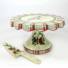 "Harry and David PINECONE 11.75"" Pedestal Cake Plate & Server Set Christmas MIB"