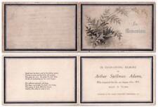 1917 In Memoriam Card ARTHUR SPILLMAN ADAMS - St James Cemetery, BATH