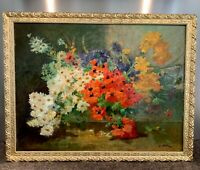 "Superbe huile sur toile XIXe ""Bouquet de Fleurs"" signée Joseph ODDE"