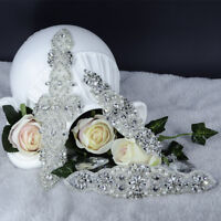 Clear Rhinestone Trimming Applique Motif Bridal Dress Applique Sewing Iron on