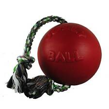 Jolly Pets Romp-n-Roll 8 inch Red | Rubber Ball with Rope for Dogs