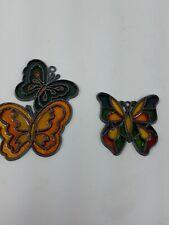 Vintage leaded Stain Glass Sun Catchers Butterflies