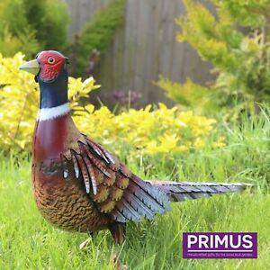 Primus Deluxe Hand Crafted Metal Pheasant Lifelike Outdoor Garden Bird Ornament