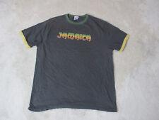 Lucky Brand Jamaica Shirt Adult Extra Large Black Green Rasta Rastafarian Mens
