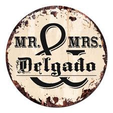 Cpf-0282 Mr. & Mrs. Delgado Circle Sign Rustic Tin Bar Home Man Cave Gift