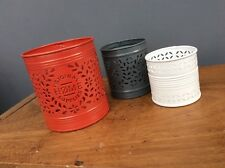 NEW NEXT Set of 3 Metal Red, Grey & White TeaLight Candle Plant Pot Holders HOME