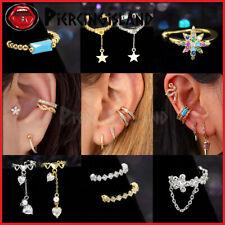 Gem Crystal Fake Helix Hoop Earring Ear Cuff Ring Dangle Clip On Non Piercing