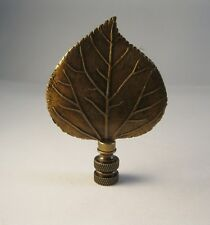 Lamp Finial-LARGE CAST LEAF-Aged Brass Finish, Highly detailed metal casting,FS