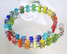 TRAUM Kette Würfelkette Millefiori bunt multicolor funkelndes Kristallglas 095b