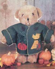 """Treasured Toggery Autumn Felt Jacket 12"""" Bears or Dolls Tender Heart Treasures"""