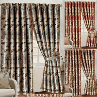 Fully Lined Ring top Luxury Jacquard Ready-Made Rosa Heavy Curtains All Size