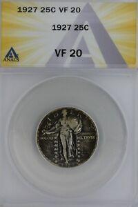 1927  .25  ANACS   VF 20   Standing Liberty Quarter, Liberty 25 Cents