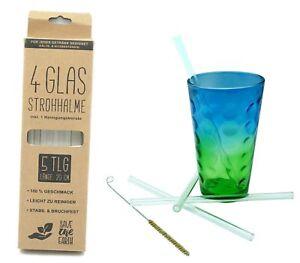 Hillfield® Glas Strohhalme Wiederverwendbar Trinkhalm 20 cm + Reinigungsbürste