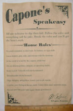 Al Capone's Speakeasy House Rules Poster 11 X 17 Bar Gin Joint Speak Easy