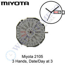 Genuine Miyota 2105 Watch Movement Japan 3 Hands, Date/Day at 3