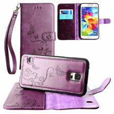 For Samsung Galaxy S5 Wallet Card Case Butterfly Cover Wristlet Strap - Colors
