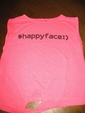 """Le ragazze rosa brillante """"Felice"""" T-shirt con BIANCO FLEX, Senza Maniche Con Laccio Anteriore"""