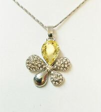 Flower Leaf Yellow/Gold Crystal Necklace Christmas Gift Woman Present UK Seller