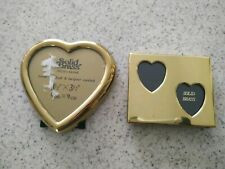 Vintage small solid brass picture frames lot Korea hearts