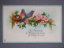 R&L Postcard: Beautiful, Flowers, Embossed, Nest, Easter, Eggs Nest, Bluebird