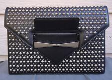 NEW $1895 Alexander McQueen Multi Studded Envelope Clutch Black Silver