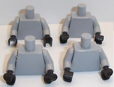 Lego Light Stone Grey Torso's x 4 with Black Hands for Miinifigure