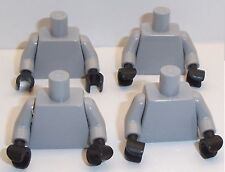 Lego Light Stone Grey Torso's x 4 with Black Hands for Miinifigure