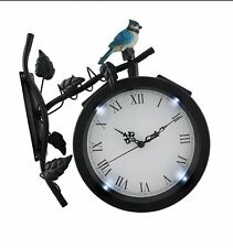 Alpine Wall Solar Clock with Bird on Branch Light Living Room Black Station
