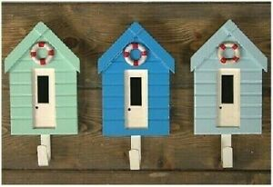 3 or 6 Coastal Wall Hanging Beach Hut with Hooks * Set of 3 or 6 Beach Huts