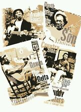 Set of 4 Blues music posters celebrating country blues icons (unframed)