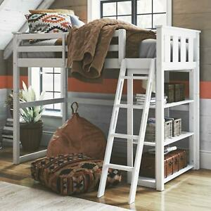 Twin Loft Bed with Bookshelf Durable Solid Pine and Rubberwood White Finish
