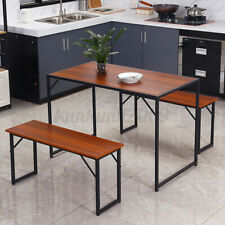 3 Piece Dining Table And Chairs Benches Set Wooden Dining Kitchen Bar Funiture
