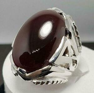 Real Yemeni Aqeeq Stone Ring Orignial Yamani Akik 925 Sterling Silver Aqeeq Ring