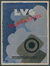 Reklame LVG Luftwaffe Berlin-Johannistal Köslin Fliegertruppe Flugzeugbau 1918