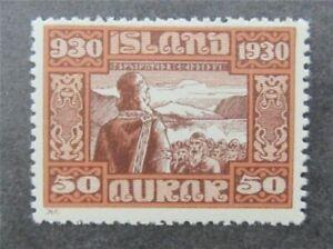 nystamps Iceland Stamp # 162 Mint OG NH $90   Y7y396