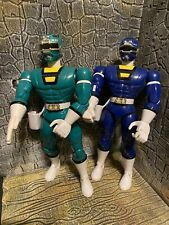 vintage 1997 Mighty Morphin Power Rangers 8? BLUE  & Green RANGER  chop Action