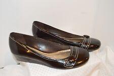 Gianni Bini Coffee Brown Patent Leather Low Platform Flats SZ 8 Shoes EXCELLENT