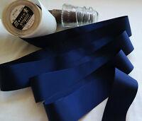 "10 yard 1//4/"" wide vintage roll grosgrain navy blue ribbon hat dress rayon 104"