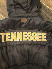 Tennessee Volunteers Removable Hooded Puffer Jacket Small Gray Orange Spellout