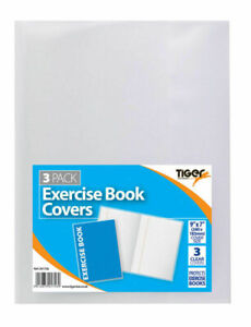 Tiger Clear Exercise Book Covers Pack of 3 Protects Exercise Book 9*7(240*183mm)