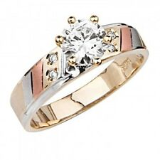 14K Tri-color Patterned Gold 1.10 Ct VS1 Simulated Diamond Engagement Ring