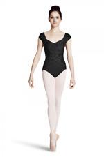 Black Bloch/Mirella Cap sleeve leotard with weave details - Size Medium