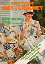 Mon Tricot MD 35 Knit Crochet Patterns Patchwork Afghan Hammock Macrame 1976